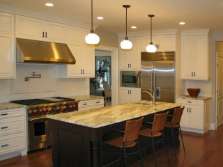 White Stacked Kitchen Cabinets