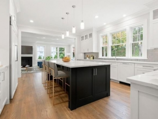 White Shaker Kitchen Cabinets, Newton MA, Black Island, New home construction