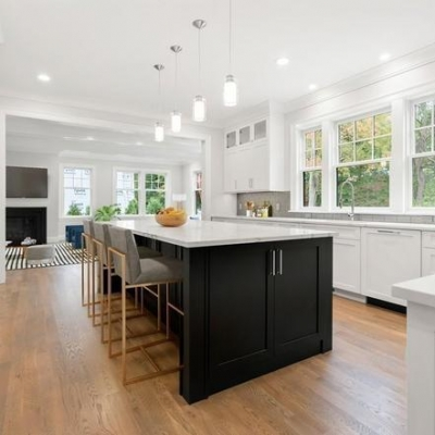 White Shaker Kitchen Cabinets, Newton MA, Black Island, New home construction