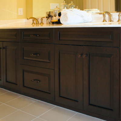 Dark Cherry Bath Vanity with Raised Panel Doors