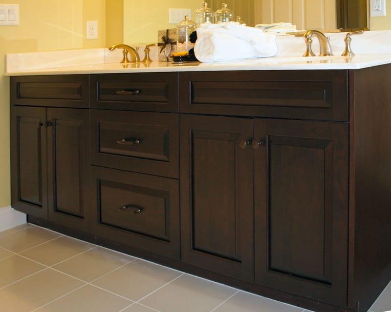 Dark Cherry Bath Vanity with Raised Panel Doors