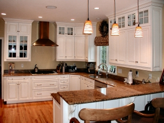 Kitchen Cabinets with Stacked Glass Doors