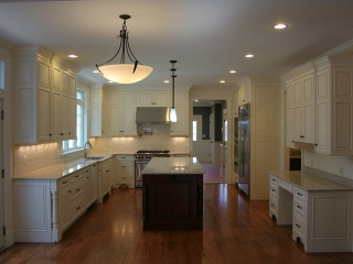White Stacked Kitchen Cabinetry