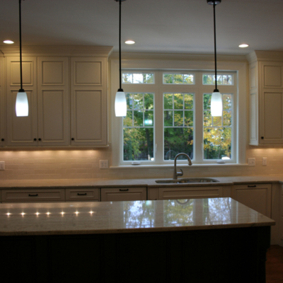 White stacked kitchen cabinets in Boston, MA