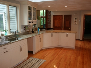Kitchen Cabinets with Angled Peninsula