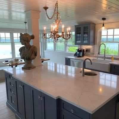 Ipswich, MA Kitchen cabinet Island with Top Knobs  Clear Octagon Crystal Knob